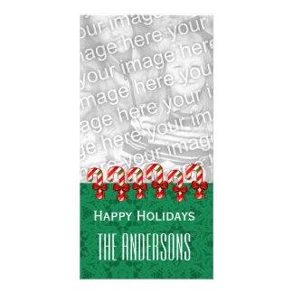 Felices Navidad V5 de los bastones de caramelo de Tarjetas Fotográficas Personalizadas