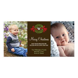 Felices Navidad verdes rojas de la guirnalda del m Tarjetas Fotograficas