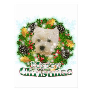 Felices Navidad Westie Tarjeta Postal