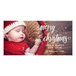 Felices Navidad y caligrafía de la Feliz Año Nuevo Tarjeta