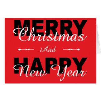 Felices Navidad y tarjeta roja del día de fiesta