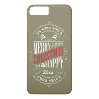 Felices Navidad y texto de la Feliz Año Nuevo, Funda iPhone 7 Plus