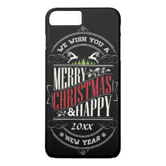 Felices Navidad y texto de la Feliz Año Nuevo Funda iPhone 7 Plus