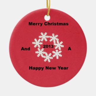 Felices Navidad y una Feliz Año Nuevo 2013 Adorno Navideño Redondo De Cerámica