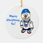 ¡Felices Navidad, Yo! Muñeco de nieve del golpeado Ornamento De Navidad