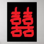 Felicidad doble en poster rojo