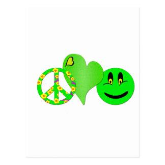 Felicidad verde del amor de la paz tarjeta postal