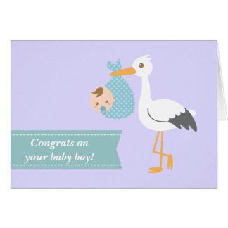 Felicite a los nuevos padres - cigüeña con el bebé tarjeta de felicitación