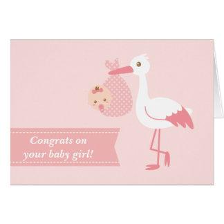 Felicite a los nuevos padres - cigüeña con la niña tarjeta de felicitación
