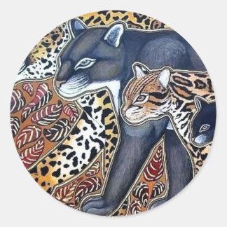 Felinos de Costa Rica - Big cats Pegatina Redonda
