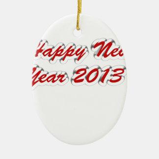 Feliz Año Nuevo 2013 Adorno Navideño Ovalado De Cerámica