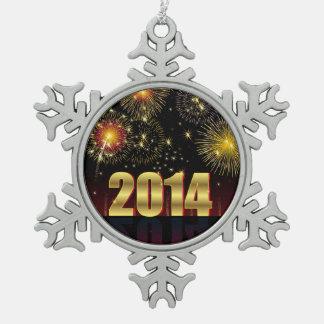 Feliz Año Nuevo 2014 del ornamento Adorno De Peltre En Forma De Copo De Nieve