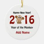 Feliz Año Nuevo 2016 años del mono Adorno Navideño Redondo De Cerámica