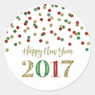 Feliz Año Nuevo 2017 del confeti del brillo del Pegatina Redonda