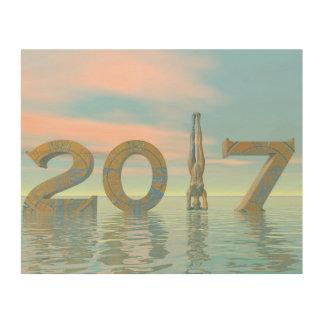Feliz Año Nuevo 2017 del zen - 3D rinden Impresión En Madera