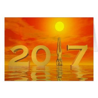 Feliz Año Nuevo 2017 del zen - 3D rinden Tarjeta De Felicitación