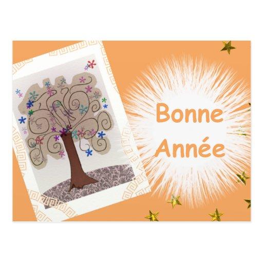 Feliz año nuevo arabesco postal