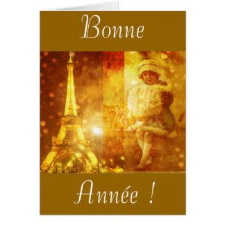 Feliz año nuevo de París Tarjeta