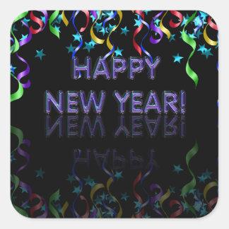 ¡Feliz Año Nuevo! el | brillante Pegatina Cuadrada