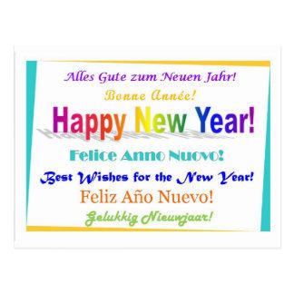 Feliz Año Nuevo - multilingüe Postal