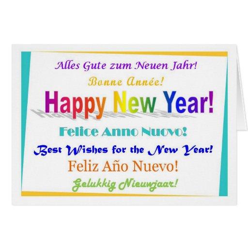 Feliz Año Nuevo - multilingüe Tarjetón