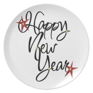 ¡Feliz Año Nuevo! Placa 1 Plato De Cena