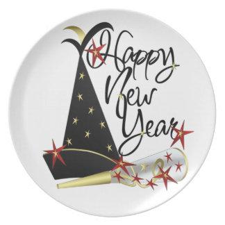¡Feliz Año Nuevo! Placa 2 Plato De Cena