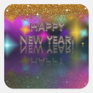 ¡Feliz Año Nuevo! Reflexión brillante el | Pegatina Cuadrada