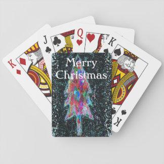Feliz árbol de navidad barajas de cartas