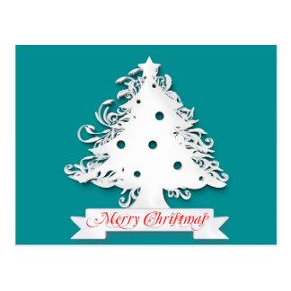 Feliz árbol de navidad postal