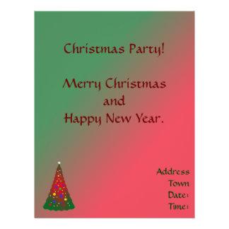 Feliz árbol de navidad verde rojo flyer
