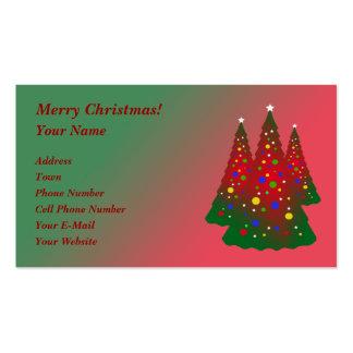 Feliz árbol de navidad verde rojo tarjetas de visita