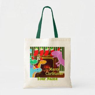 Feliz bolso del regalo de la chimenea del bolsa tela barata