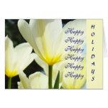 ¡Feliz buenas fiestas! Flores amarillas blancas de Tarjeta