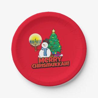 Feliz Chrismukkah con el muñeco de nieve y Menorah Plato De Papel