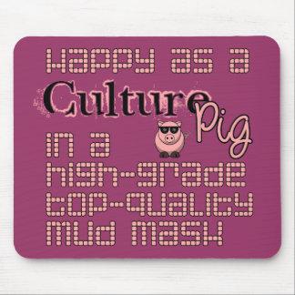 Feliz como cerdo de la cultura alfombrillas de ratones