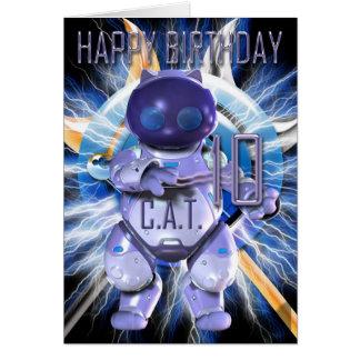 Feliz cumpleaños 10mo, gato del robot, Techno Tarjeta De Felicitación