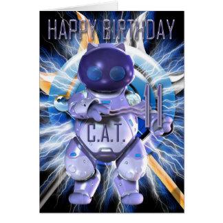 Feliz cumpleaños 11mo, gato del robot, Techno Tarjeta De Felicitación