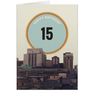 Feliz cumpleaños 15 años tarjeta de felicitación