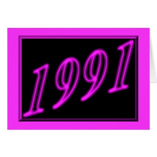 Feliz cumpleaños 1991 años de los años 90 de neón  tarjetón