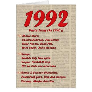 Feliz cumpleaños 1992 años de los años 90 90s de tarjeta de felicitación