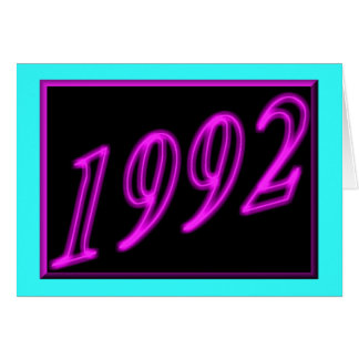 Feliz cumpleaños 1992 años de los años 90 de neón  tarjetas