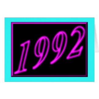 Feliz cumpleaños 1992 años de los años 90 de neón tarjeta de felicitación