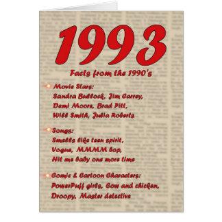 Feliz cumpleaños 1993 años de los años 90 90s de tarjeta de felicitación