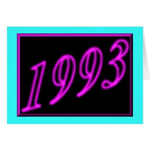 Feliz cumpleaños 1993 años de los años 90 de neón  tarjeta
