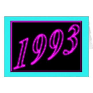 Feliz cumpleaños 1993 años de los años 90 de neón tarjeta de felicitación