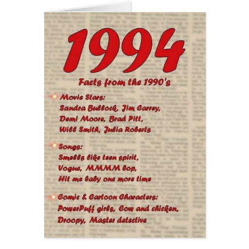 Feliz cumpleaños 1994 años de los años 90 90s de l tarjetas