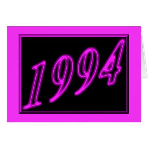 Feliz cumpleaños 1994 años de los años 90 de neón  tarjetón