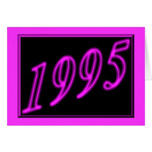 Feliz cumpleaños 1995 años de los años 90 de neón  tarjetón