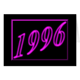 Feliz cumpleaños 1996 años de los años 90 de neón tarjeta de felicitación